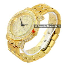 men's old gold tone ice out dial business clubbing watch bracelet Techno Pave