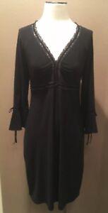 Laundry By Shelley Segal Black V Neck Dress Size 8 Medium W Lace Trim