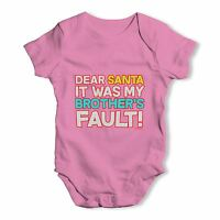 Santa It Was My Brother's Fault Baby Unisex Funny Baby Grow Bodysuit