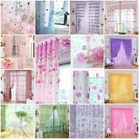 Sheer Curtain Panel Window Balcony Tulle Room Divider Valances Colorful Print CC