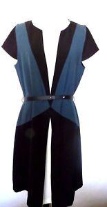 Zara Black Blue White Color Solid  Colorblock  Style  Sheath  Dress  Size   L