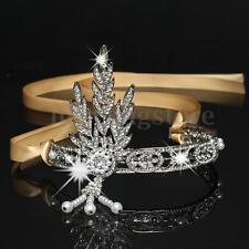 Wedding Bridal Crystal Flower Tiara Crown Pearl Rhinestone Hair Band Headband