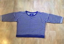 Primark Blue And White Striped Short Cropped Sweatshirt Jumper Size 12