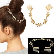 Women Charming Unique Gold Tone Leaves Chain Fringe Hair Comb Cuff Head Band