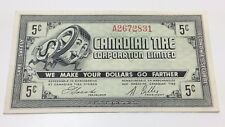 1962 Canadian Tire Five 5 Cents CTC-7-A Money Bonus Banknote D018