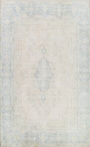 Muted Semi-Antique Kirman Distressed Hand-knotted Area Rug Evenly Low Pile 10x13