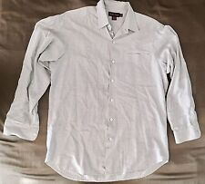RALPH LAUREN PURPLE LABEL ASTON Checked Ivory/ Lt Blue Dress Shirt Sz Large $395