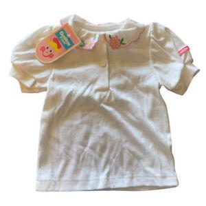Vintage Oshkosh Girls 18 M White Embroidered Collard Buttoned Shirt Pink NOS