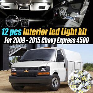 12Pc Super White Car Interior LED Light Kit for 2009-2015 Chevy Express 4500