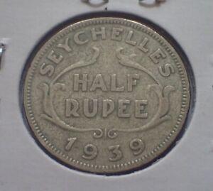 SEYCHELLES 1939 1/2 Rupee Silver Coin George VI
