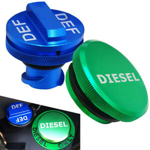 🔥For 2013-2018 Dodge Ram 2500 3500 Cummins Green DIESEL Fuel Cap & Blue DEF Cap