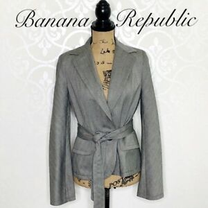 Size 6 Banana Republic Grey Fully Lined Wool Blazer with Coordinating Belt NWT