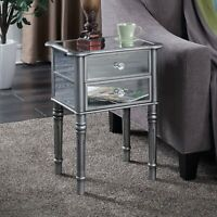Contemporary 2-Drawer Mirrored Sofa Side Table Lamp Accent Decor Display Stand