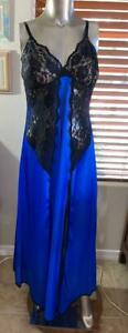 Fredrick's of Hollywood Blue/Black Long Sexy Gown Size M/L # 091003
