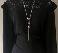 """Beautiful 30"""" long SILVER tone 2 layered star & tassel pendant chain necklace"""