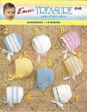 Emu 8548 Vintage Baby Pretty Bonnets Knitting Pattern 1-6 months QK/DK