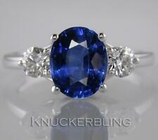 Blue Sapphire and F VS Diamond Ring 3.55ct in 18ct White Gold Engagement 3-Stone