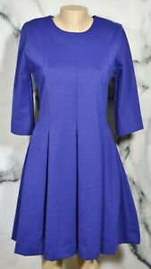 GAP Drizzle Blue Ponte Fit & Flare Dress 8 3/4 Sleeves Unlined Nylon Blend