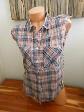 Quiksilver Plaid Button Up Sleeveless Top Size XSMALL New