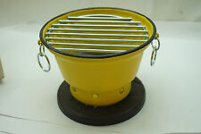VINTAGE HIBACHI GRILL YELLOW ENAMEL NEW BOX JAPAN MINIATURE TABLE TOP INDIVIDUAL