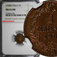 Italy Umberto I Copper 1900-R 1 Centesimo NGC MS65 RB TOP GRADED BY NGC KM# 29