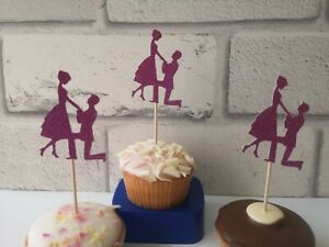 Proposal Cupcake Toppers, Engagement Cupcake Toppers, Bridal Shower Decoration
