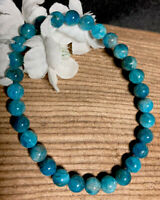 11g LOVELY BLUE/GREEN APATITE CRYSTAL BEAD HEALING BRACELET  Reiki  NORWAY