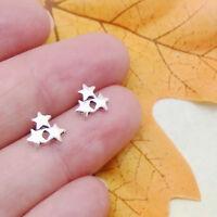 Sterne Sternchen Komet Design Ohrringe Ohrstecker Stecker 925 Sterling Silber