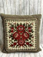 "Vtg Wool Needlepoint Pillow Flowers Red Green Velvet Green Back 14"" x 14"" Zipper"