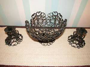Vintage Gothic Black Wrought Iron Metal Scroll Bowl With Matching Candle Holders