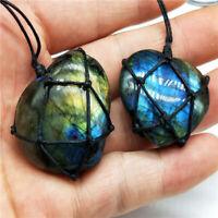 Women Mens Crystal Moonstone Labradorite Wrap Pendant Natural Stone Necklace~