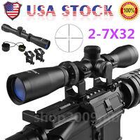 2-7x32 Optics Pistol Rifle Scope Long Eye Relief 350mm Mount Hunt & Cover Rings