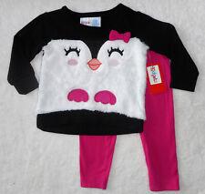 Baby Mädchen Kleid Set 2tlg ANZUG Kuschel-Pulli + Hose 🐞 PINGUIN 🐞 74/80 NEU