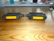 """Vintage Raleigh bicycle reflective block pedals 9/16"""" threads"""
