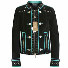 GUCCI $3776 black suede leather metal star studded teal trim biker jacket 44 NEW