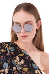 RRP €1155 LINDA FARROW Clip On Round Sunglasses Mirrored Lenses Made in Japan