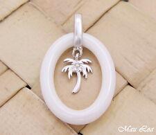 PLATA DE LEY 925 rodio HAWÁI Palmera cerámica blanca colgante oval