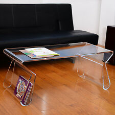 """38"""" Modern Portable Acrylic Lucite Carrying Tray Side End Coffee Table - Clear"""