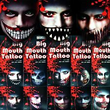 4 Temporary Tattoos Big Mouth Halloween Fancy Dress Party Costume Accessories