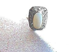 Vintage Sterling Silver Mother of Pearl Marcasite Ring