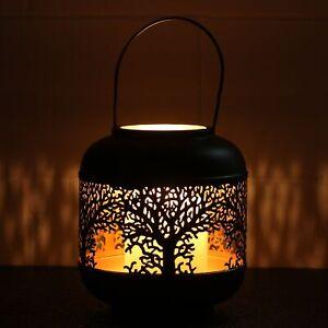 22cm Small Tree of Life Black Votive Candle Holder Lantern Laser Cut Out Design