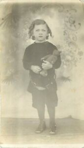 1911 Studio RPPC Boy Earl Augustus Joscelyn & Stieff Teddy Bear, Forest City SD