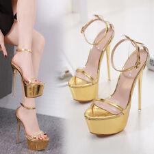 Womens Sexy Open Toe Ankle Strap Sandals High Slim Heels Platform Clubwear Shoes