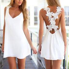 Stylish White Chiffon Summer Loose Dress Rear Crossover Styling One Size 10-12