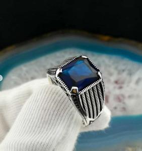 SOLID STERLING 925 SILVER HANDMADE JEWELRY ELEGANT BLUE SAPPHIRE MEN'S RING