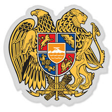 "Armenia Coat of Arms Flag car bumper sticker window decal 5"" x 5"""