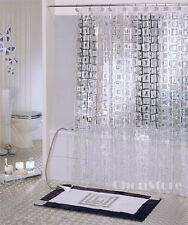 Bathroom Transparent Cubes PVC Shower Curtain E2