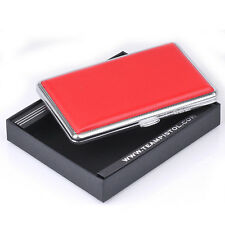 Red Leather Slim Cigarette Case Box 100's Hold For 14 100mm Cigarettes 308