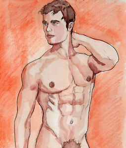 ORIGINAL LARGE MALE NUDE Watercolor - LARRY - by GERMANIA