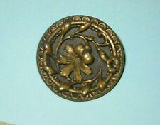 """Antique 1.5"""" Brass Metal Picture Shank Button with Raised Center Flower"""